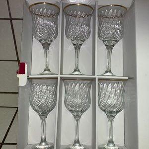New Elegance water goblets 24 karat gold rim set 6